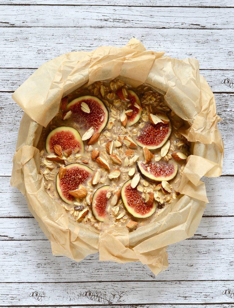 bagt grød med figner og tahin