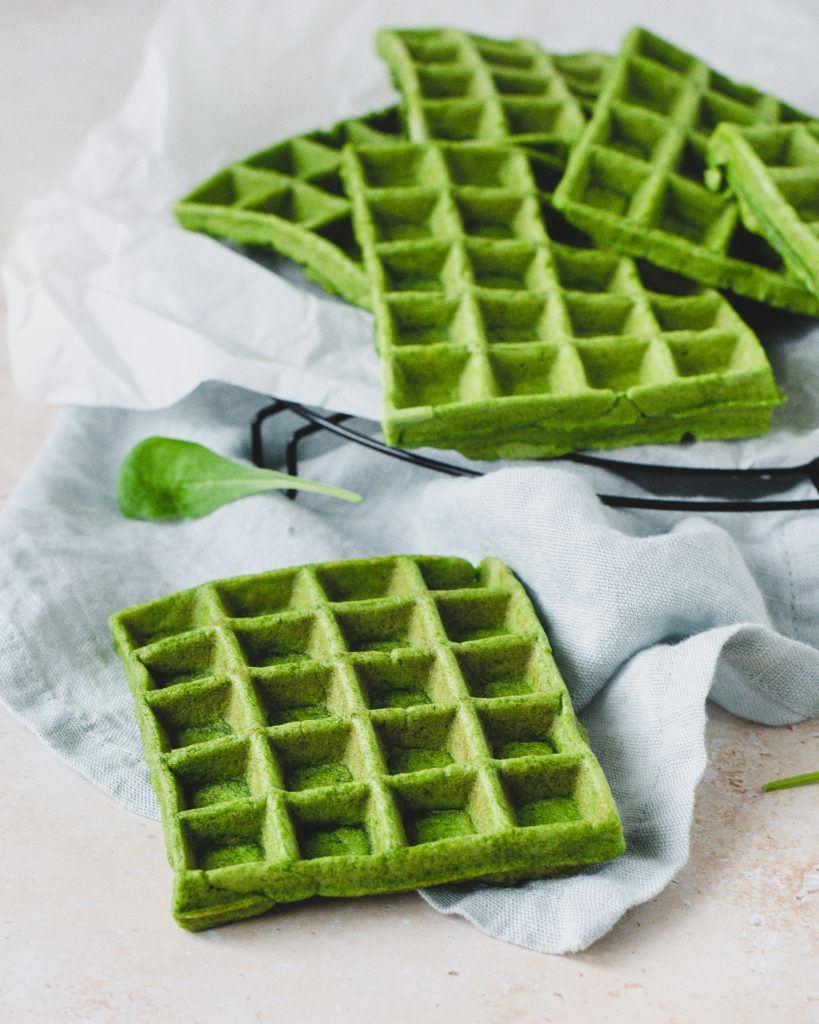 Grønne spinatvafler